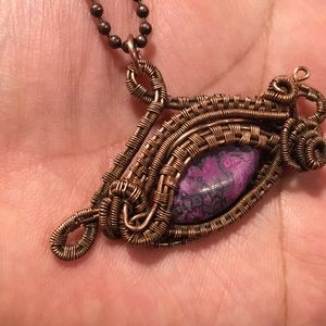 Jewelry - Crazy lace agate copper wire wrapped  EYE necklace